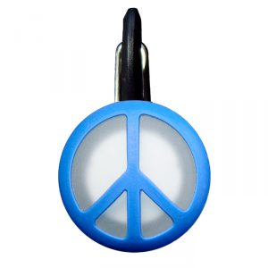 Dog accessories - dog tag clips right onto dog collar - blue peace sign design